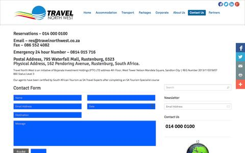 Screenshot of Contact Page travelnorthwest.co.za - Contact   Travel North West - captured Oct. 7, 2014