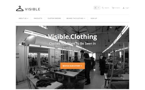 Screenshot of Home Page visible.clothing - Visible - captured Oct. 6, 2014