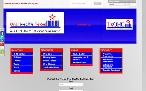Screenshot of Contact Page oralhealthtexas.org - Contact TxOHC - captured March 15, 2016