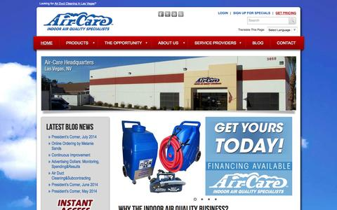 Screenshot of Home Page air-care.com - Air Duct Cleaning Equipment, Supplies and Training by Air-Care - captured Sept. 30, 2014