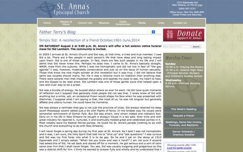 Screenshot of Blog stannanola.org - Father Terry's Blog - Saint Anna's Episcopal Church New Orleans - captured Oct. 6, 2014