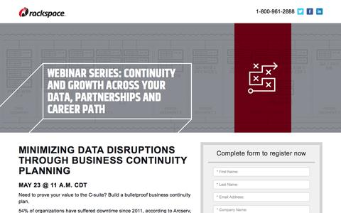 Screenshot of Landing Page rackspace.com - Minimizing Data Disruptions Through Business Continuity Planning - captured May 22, 2018