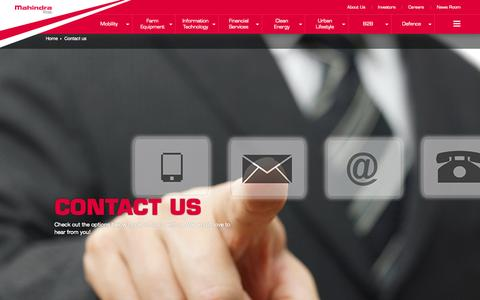 Screenshot of Contact Page mahindra.com - contact us - captured Nov. 18, 2015