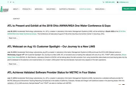 Screenshot of Press Page atlab.com - News - captured Aug. 18, 2018