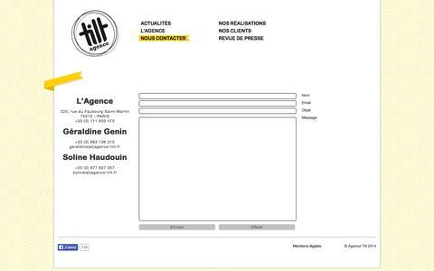 Screenshot of Contact Page agence-tilt.fr - Agence TILT | Nous contacter - captured Sept. 26, 2014