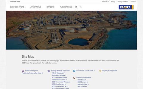 Screenshot of Site Map Page bgc.com.au - BGC Site Map - BGC Corporate - captured Oct. 9, 2017