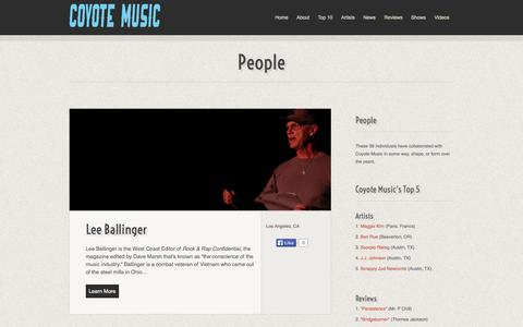 Screenshot of Team Page coyotemusic.com - People :: Coyote Music - captured Sept. 30, 2014
