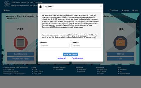 Screenshot of Login Page usitc.gov - USITC - EDIS Home - captured Feb. 23, 2019