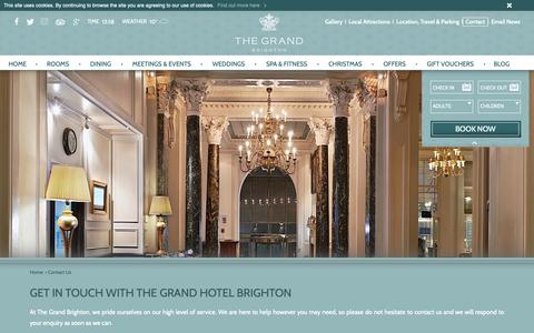 Screenshot of Contact Page grandbrighton.co.uk - The Grand Brighton | Independent Hotel Brighton | Contact Us - captured Oct. 30, 2018