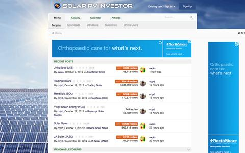 Screenshot of Home Page solarpvinvestor.com - Solar PV Investor Forums - captured June 16, 2017