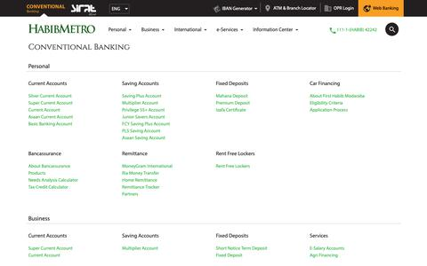 Screenshot of Site Map Page habibmetro.com - Sitemap – Habib Metro Bank - captured Sept. 26, 2018