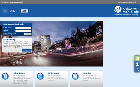 Screenshot of Login Page kreiswerke-main-kinzig.de - Kreiswerke Main-Kinzig: Kundenportal - captured Oct. 29, 2018