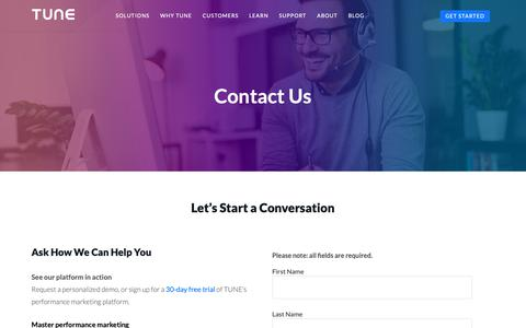Screenshot of Contact Page tune.com - Contact Us | TUNE - captured April 23, 2019