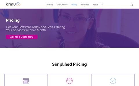 Screenshot of Pricing Page ormuco.com - Ormuco Pricing - Get Your Software Today & Start Providing Cloud Services within a Month - captured March 29, 2019