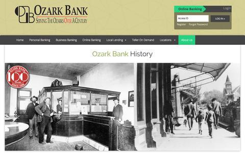 Screenshot of About Page ozarkbank.com - Ozark Bank : Ozark Bank History - captured Sept. 20, 2018