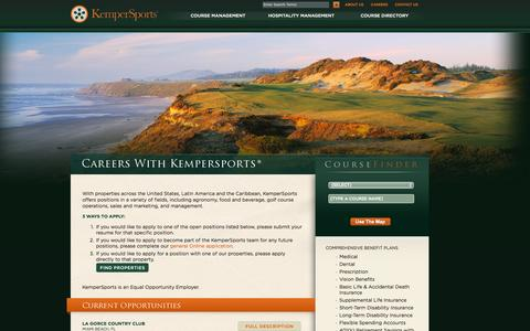 Screenshot of Jobs Page kempersports.com - Golf Course Management Careers | Hospitality Management Careers | KemperSports - captured Sept. 22, 2014