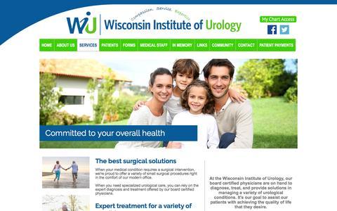 Screenshot of Services Page wisurology.com - Surgical Procedures | Urological Care | Neenah, WI - captured Feb. 16, 2016