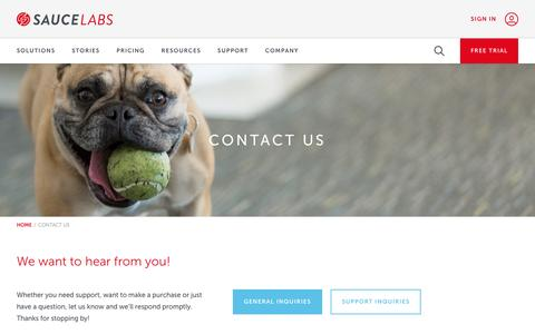 Screenshot of Contact Page saucelabs.com - Contact Us | Sauce Labs - captured Aug. 3, 2016