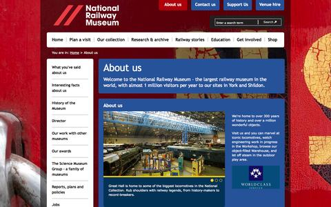 Screenshot of About Page nrm.org.uk - About us - National Railway Museum - captured Oct. 26, 2014