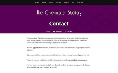 Screenshot of Contact Page theovermare.com - Contact - captured Dec. 1, 2016