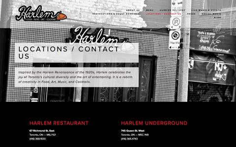 Screenshot of Contact Page Locations Page harlemrestaurant.com - Locations / Contact Us Ń Harlem Restaurant - captured Dec. 7, 2015