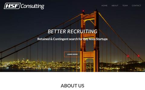 Screenshot of Home Page hsf.io - HSF Consulting |Recruiting for San Francisco Bay Tech Startups - captured Jan. 23, 2016