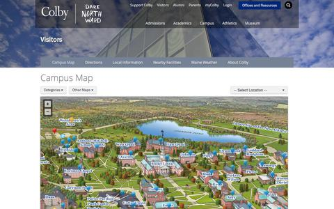 Screenshot of Maps & Directions Page colby.edu - Campus Map | Visitors | Colby College - captured Sept. 24, 2018