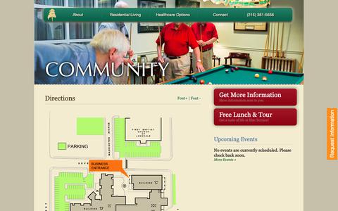 Screenshot of Maps & Directions Page elmterracegardens.org - Directions to Elm Terrace Gardens | Retirement Community | Lansdale, PA 19446 - captured Nov. 4, 2018