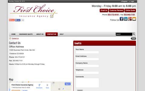 Screenshot of Hours Page fcicolorado.com - Insurance First Choice Agency Auto Homeowners Rental Commercial Umbrella Property Flood Firestone RV CGL Marine Life Colorado CO > Contact Us - captured Oct. 6, 2014