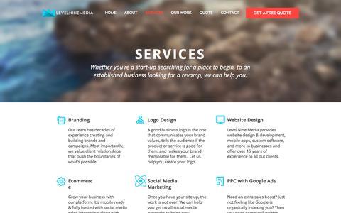 Screenshot of Services Page levelninemedia.com - SERVICES | Level Nine Media | Services We Offer - captured Sept. 7, 2019