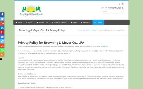 Screenshot of Privacy Page elderlaw.us - Browning & Meyer Co. LPA Privacy Policy - Browning & Meyer - Ohio Elder Law, Estate Planning Law Firm - captured Oct. 11, 2017