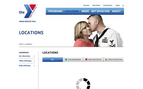 Screenshot of Locations Page asymca.org - Locations | HomeThe Armed Services YMCA - captured Oct. 4, 2014