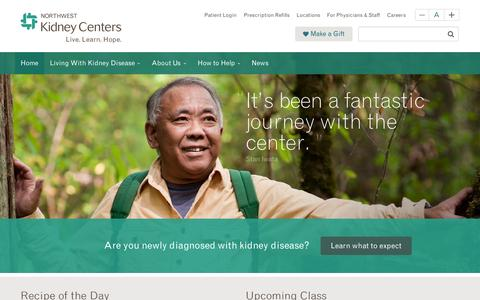 Screenshot of Home Page nwkidney.org - Northwest Kidney Centers | Northwest Kidney Centers is a not-for-profit, locally managed provider of kidney dialysis, public health education and research into the causes and treatments of chronic kidney disease. Founded in Seattle in 1962, it was th - captured Aug. 17, 2015