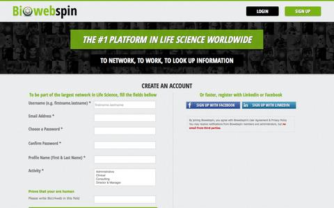 Screenshot of Signup Page biowebspin.com - Connect to Biowebspin   Biowebspin - captured Sept. 22, 2014