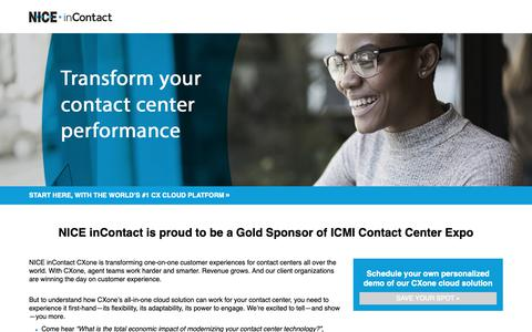 Screenshot of Landing Page niceincontact.com - Personalized Demo @ ICMI Contact Center Expo | Orlando, FL | May 21-24, 2018 - captured Oct. 5, 2018