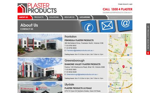 Screenshot of Contact Page Locations Page plasterproducts.com.au - Locations | Plaster Products - captured March 15, 2016