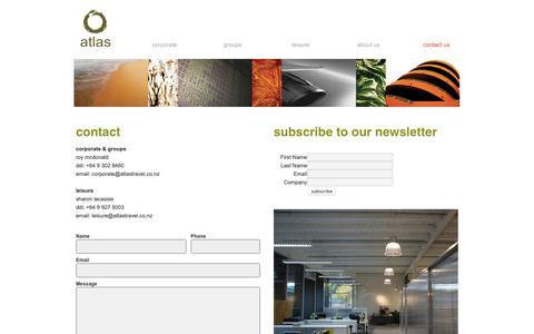 Screenshot of Contact Page atlastravel.co.nz - atlas   corporate, group & leisure travel.  auckland, nz. - captured Dec. 9, 2018