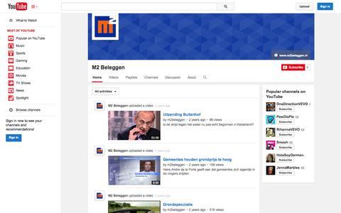 Screenshot of YouTube Page youtube.com - M2 Beleggen  - YouTube - captured Oct. 23, 2014