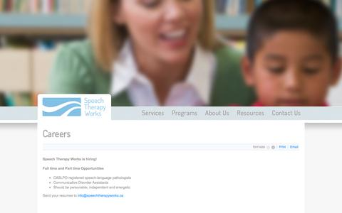 Screenshot of Jobs Page speechtherapyworks.ca - Careers - captured Sept. 30, 2014