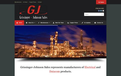 Screenshot of Home Page gjsales.com - Grissinger Johnson Sales - Electrical Manufacturer Represenative - captured Oct. 3, 2014