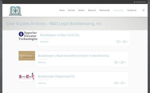 Screenshot of Case Studies Page rdlegalbookkeeping.com - Case Studies Archives - R&D Legal Bookkeeping, Inc. - captured Nov. 18, 2016