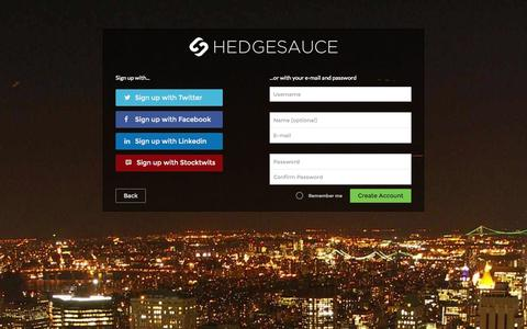 Screenshot of Signup Page hedgesauce.com - HedgeSauce | Sign up for the World's First Crowd Sourced Hedge Fund - captured Sept. 29, 2014