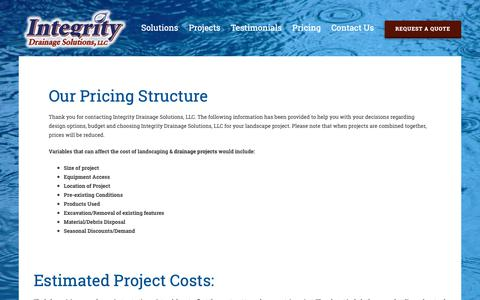 Screenshot of Pricing Page 4nowater.com - Pricing - Estimated Project Costs for Milwaukee-Area | Integrity Drainage - captured Oct. 12, 2018