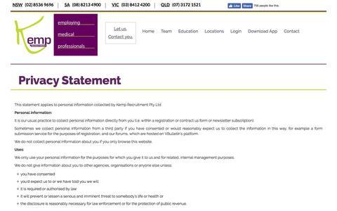 Screenshot of Privacy Page kemprecruitment.com.au - Privacy statement - captured Sept. 20, 2018