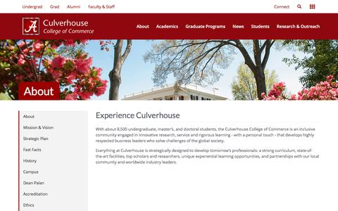 Screenshot of About Page ua.edu - The Culverhouse College of Commerce - captured Feb. 20, 2017