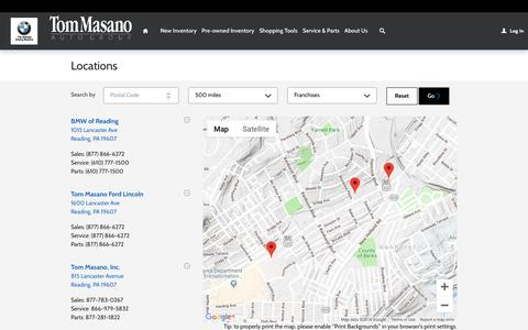 Screenshot of Locations Page tommasano.com - Tom Masano Auto Group | New Mercedes-Benz, Ford, Lincoln, BMW dealership in , - captured Nov. 16, 2018