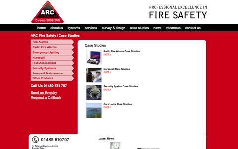Screenshot of Case Studies Page arcfiresafety.co.uk - ARC Fire Safety Case Studies - captured Oct. 4, 2014