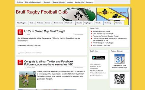 Screenshot of Press Page bruffrfc.com - News | Bruff Rugby Football Club - captured May 7, 2016