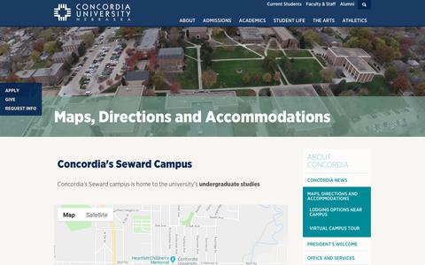 Screenshot of Maps & Directions Page cune.edu - Map to Concordia University, NE - Visit the Campus - captured Dec. 6, 2018