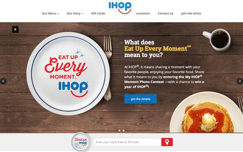 Screenshot of Home Page ihop.com - Welcome to IHOP - captured Oct. 8, 2016